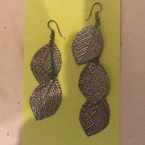 Asymmetrical Silver Leaf  Earrings